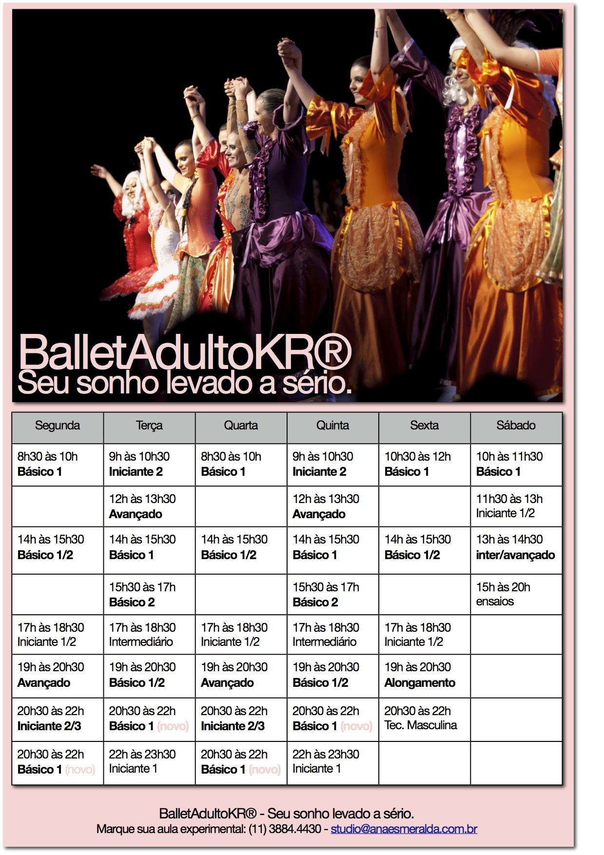 Grade de horários de ballet clássico para adultos - 2014