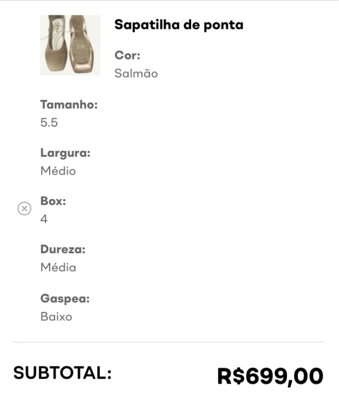 Figura mostra tamanho e valor da sapatilha selecionada.